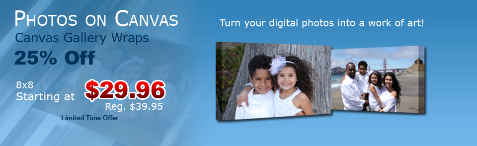 Photos on Canvas-turns your digital photos into a work of art!